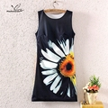 Mashalando 2017 Fashion Vintage Spring Summer Women Lady Girl Sleeveless Sunflower Graphic Printed Mini Dress Printing Dresses