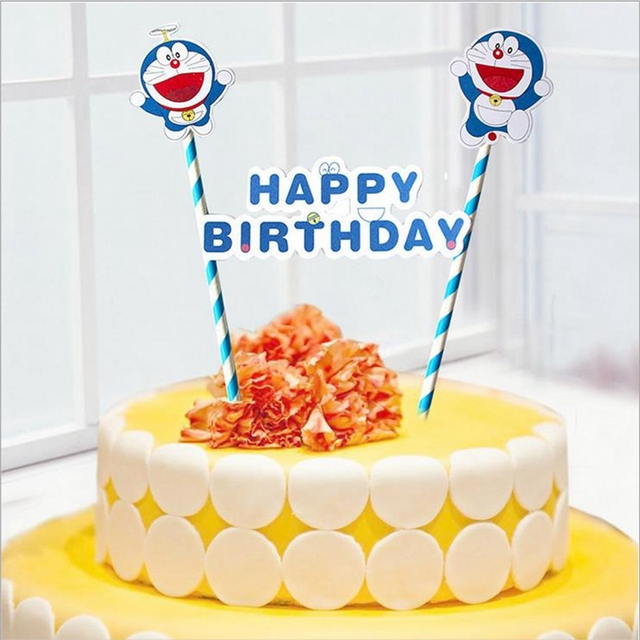 cartoon doraemon happy birthday letter cupcake topper picks child birthday party anniversary decoration boy cake flag