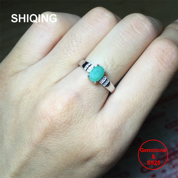 SHIQING Nature green emerald ring, oval sterling silver classical may birthstone band noble ring for women