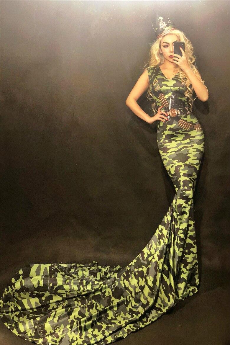 Robe de bal d'anniversaire en queue de poisson maigre robe Camouflage extensible robes de traînée Bar femme chanteuse défilé Performance Costume DJ