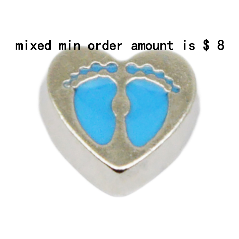 2016 Hot Sale jewelry 10pcs Blue baby feet floating charms for glass lockets,Y-54