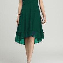 Новое Модное шифоновое платье без рукавов с высокой талией и воротником-хомутом, женское летнее повседневное офисное платье
