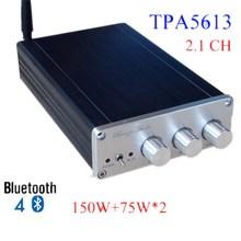 Discount! New Breeze audio BA10C TPA5613 Hifi 2.1 Bluetooth 4.0 75W*2+150W Subwoofer Digital Audio Power Amplifier Aluminum Amplifier hot