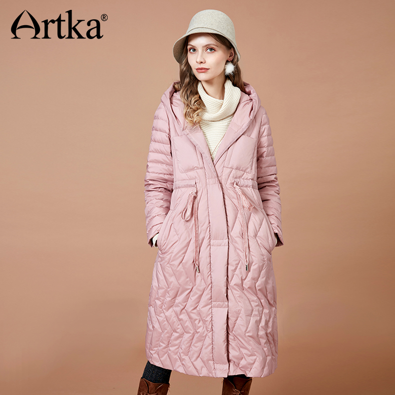 ARTKA 2018 Winter Women 90% White   Down   Jacket   Coat   Long Fashion Warm Outerwear High Quality Hooded   Down     Coats   Parkas YK10088D