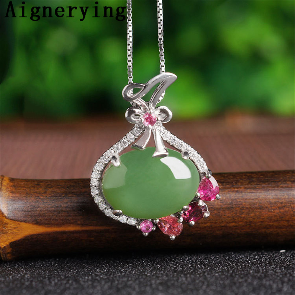 Original Pendant Necklace Certificate 925 silver Natural Green Jade Tourmaline Inlaid Green Jade Cute For Woman Gift with Box Original Pendant Necklace Certificate 925 silver Natural Green Jade Tourmaline Inlaid Green Jade Cute For Woman Gift with Box