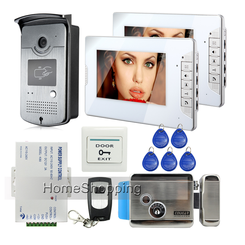 FREE SHIPPING 7 Video Intercom Home Door Phone System 2 White Monitors + 1 RFID Reader Camera Electric Lock In Stock Wholesale free shipping brand new home 7 inch video intercom door phone system 2 monitors rfid camera long 250mm strike lock in stock
