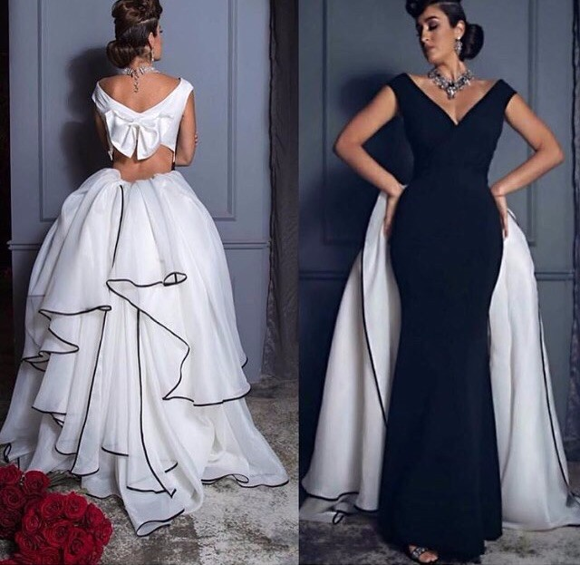 V-Nech a Line Organza Gown