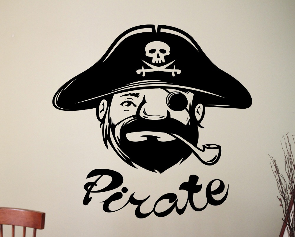 Cute Little Patterned Pirate Skull Head Wall Mural Home Rooms Stylish Art Decoration Vinyl Special Wall Sticker Wallpaper Wm 496