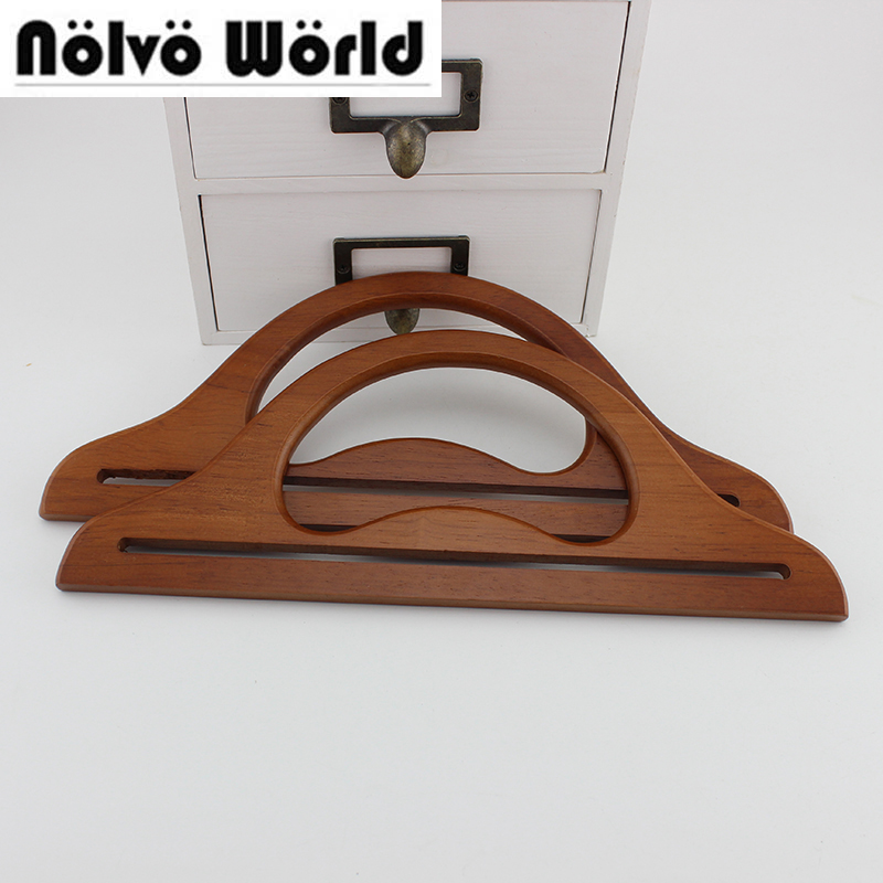 1 Pair=2 Pieces,5 Colors 30X12cm Solid Wooden Handles For Handmade Bag Handbags,DIY Bag Hanger Purse Handle Charming Wooden Bag