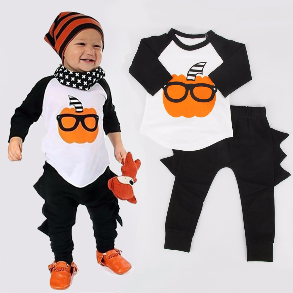 2017 Funny Spring Baby Boy Cloth 2PCs Newborn Toddler Baby Boys Halloween Outfits Long Sleeve T shirt + Pants Clothes Set 0-24M funny baby funny baby twin 2