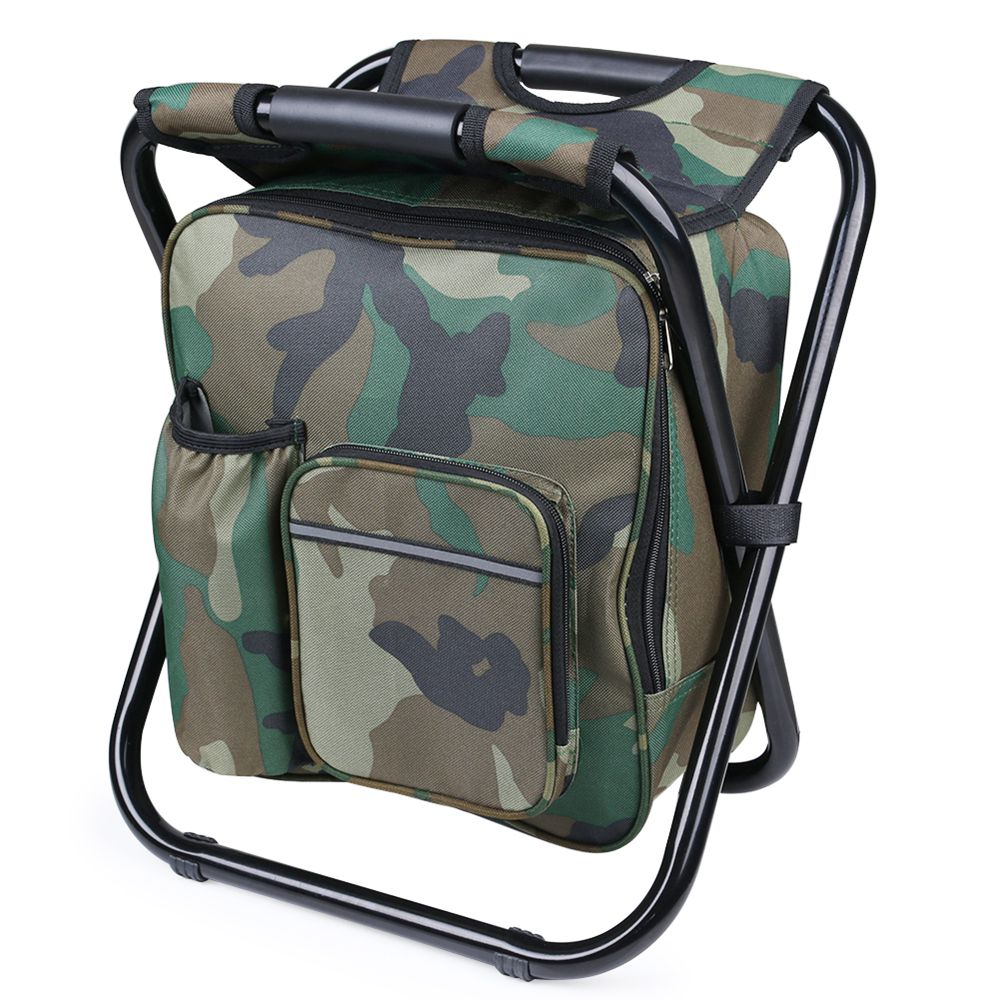 Outdoor Folding Stool Portable Backpack Chair Stool Fishing Chair With Insulated Cooler Bag For Camping Fishing Hiking Beach Novelty & Special Use