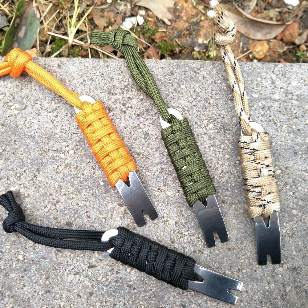 Handmade Umbrella Preparation EDC Camping Mini Pocket Version Stainless Steel Crowbar Crank-shaped Scraper Winder Nail Keychain