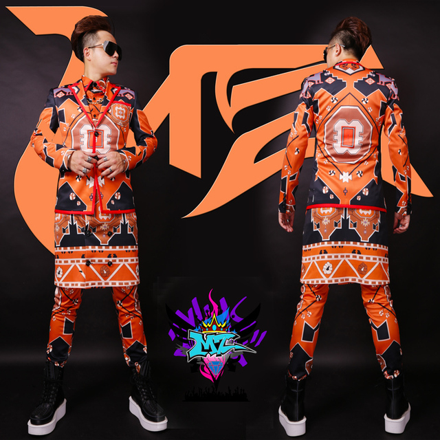 2015 New Nightclubs man singer DJ right Zhi-Long GD catwalk style geometric abstract graffiti short suits costumes,S-5XL