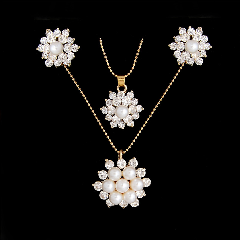 18k Gold Plated Turquoise Pearl Pendant Flower Pearl Earrings Necklace Set
