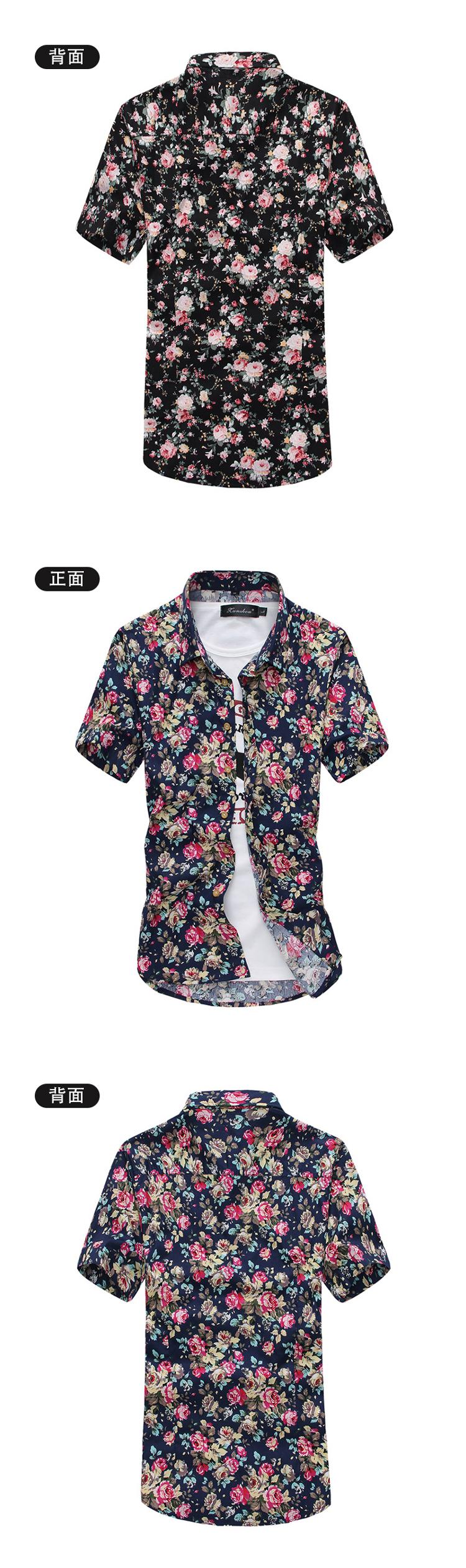 Men Summer Thin Shirts Short Sleeve Floral Shirts New Fashion Men Outwear Casual Slim Shirts Mens Cotton dress shirts 11