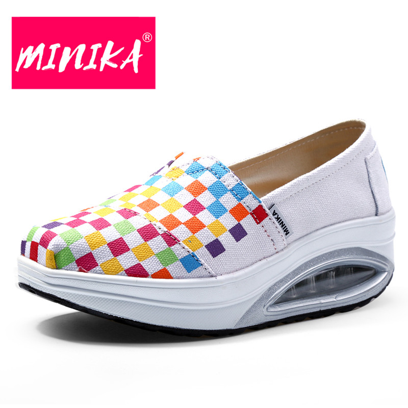 MINIKA Flat Platform Women Casual Shoes 2017 Spring New Style Slip On Shallow Mouth Breathable Women Shoes Casual Women Flats minika women shoes flats loafers casual breathable women flats slip on fashion 2017 canvas flats shoes women low shallow mouth