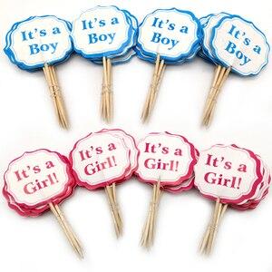 Image 1 - 24 Chiếc Cho Bé Đảng Đó Là Một Bé Trai/Bé Đó Là Một Cô Gái Cupcake Trang Trí Đồ Trang Trí Trẻ Em Ủng Hộ Sinh Nhật xanh Dương Hồng Bánh Trang Trí Đồ Bằng Gậy