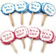 24 sztuk Baby Shower Party to chłopiec/to dziewczyna Cupcake wykaszarki udekoruj dzieci sprzyja urodziny niebieski różowy tort wykaszarki z kije