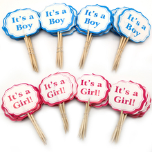 24pcs Baby Shower Party Its a boy/Its a girl Cupcake Toppers Decorate Kids Favors Birthday Blue Pink Cake Toppers With Sticks