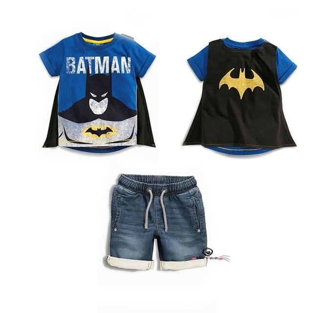 Лето Мальчик Superhero Одежда 2 Шт. Набор Детей Малыша Плащ Футболка + Джинсовые Шорты Костюмы 2-7 Т