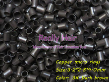 3.2*2.8*4.0mm 3 Dark brown 1000pcs copper flared ring easily locks/copper tube micro