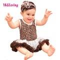 Leopard Dress Девушки Рукавов Хлопок Ползунки Дети DressesBaby Девушка Одежда для Младенцев Наборы Боди 2016 Новое Прибытие RN134