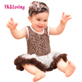 Leopard Dress Girls Sleeveless Cotton Romper Children  DressesBaby Infant Girl Clothing Sets Bodysuits 2016 New Arrival RN134