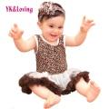 Leopard Dress Girls Sleeveless Cotton Romper Children  DressesBaby Infant Girl Clothing Sets Bodysuits 2016 New Arrival RN134