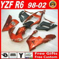 Brown orange & matte black Fairings set for YAMAHA R6 1998 2002 parts kit 98 99 00 01 02 fairing kits 1999 2000 2001