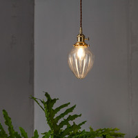 Loft Industrial Vintage Pendant Light Copper Heart Shape Glass Hanging Lamp LED Antique Pendant Lights Home Deco Lighting