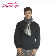 Jinjin.QC Geometry Men Scarf Winter Black Cashmere Scarves and Wraps 2019 Luxury Brand Mens Bandana Blue White