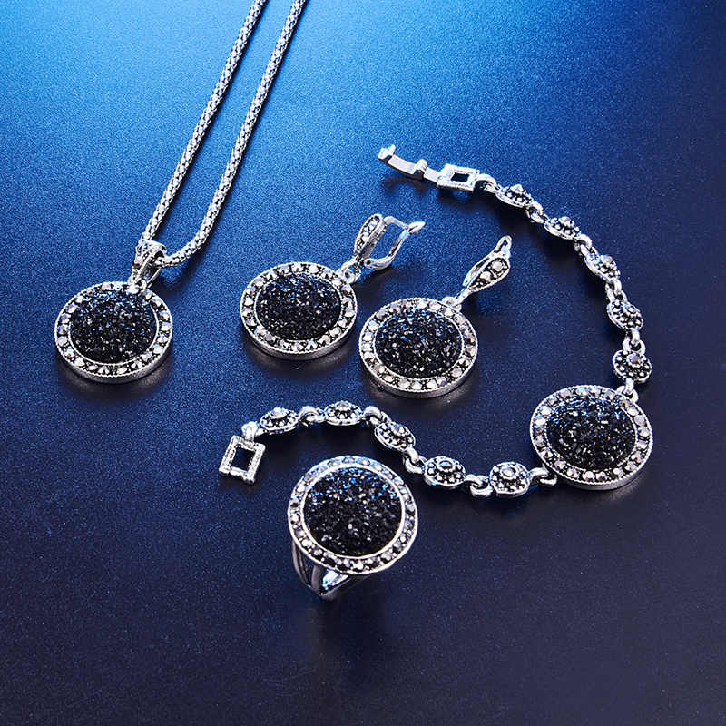 Fashion 1set Vintage Black Gem Jewelry Set Women Jewelry Set Antique Silver Crystal Round Stone Pendant Necklace Sets