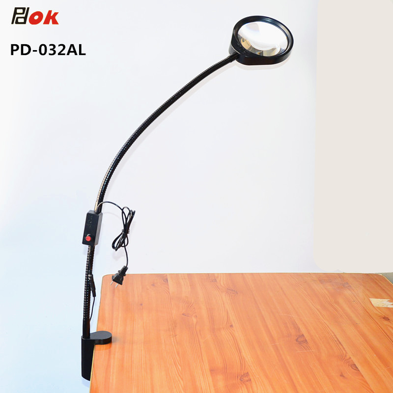 10X LED Magnifier Light Gooseneck Arm With Table Clamp Adjustable Industrial Clamp for Desk, Table, Craft or Work Bench, Black