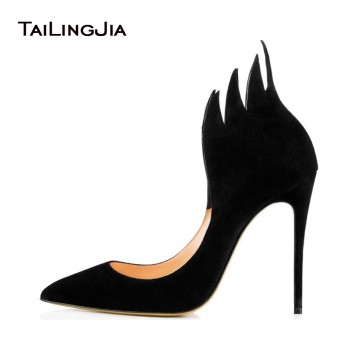 High Heel Pumps Black Suede Pointed toe Stiletto Heel Shoes Blue Red Evening Dress Heels Court Shoes