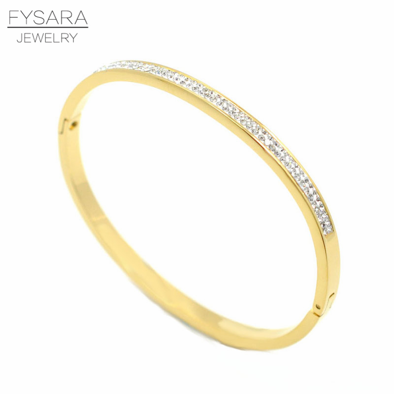 FYSARA Row Rhinestone Crystals Paved Cuff Bracelet Stainless Steel Gold Bracelets & Bangles For Women Thin Bangles Wedding Gift цена 2017
