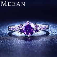 Mdean bague аметист бриллиантами bijoux cz позолоченный обручальное фиолетовый кольца свадебные