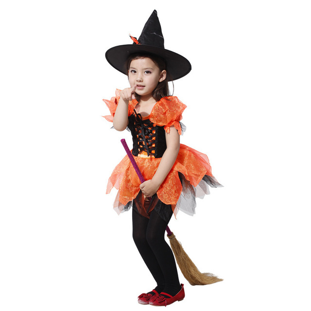 Free Shipping 2016 Hot Sell Kids Cute Halloween Costumes Cosplay Carnival Star Queen Witch