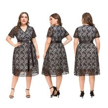 Women Plus Size Dress Elegant Lace V-Neck Belted Ladies Party Dress Short Sleeve A-Line Ladies Midi Dress plus bardot embroidery belted dress