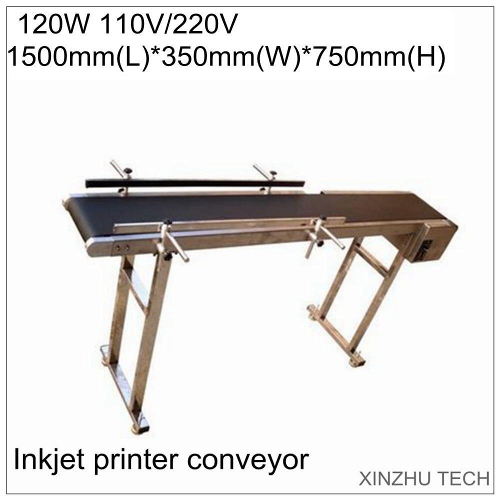 Convoyeur d'imprimante à jet d'encre 120 W 1500mm * 350mm * 750mm convoyeur à bande transporteur de bande de Table pour bouteilles/boîte/sac/autocollant