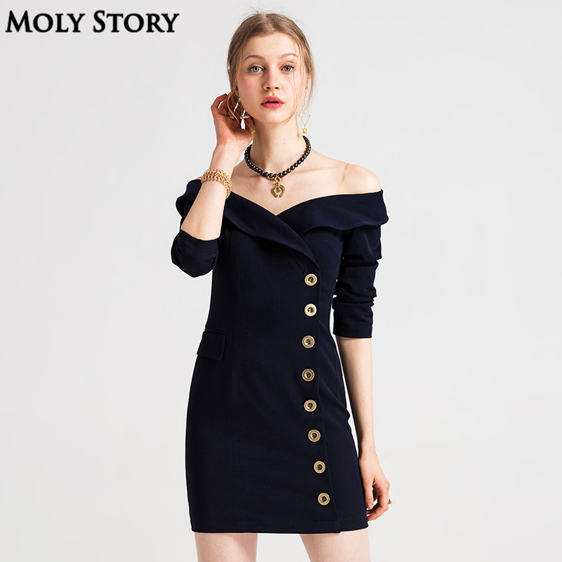 Super! Mesdames petite Mini épaule dénudée Robe bleu marine Vintage à manches longues robes de soirée Slim Robe Femme Robe formelle femmes