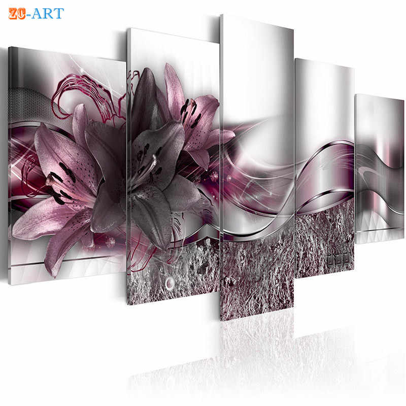 Dark Purple Lilies Blossom Print Canvas Painting 5 Panel Brown And Orange Flower Poster Elegance Wall