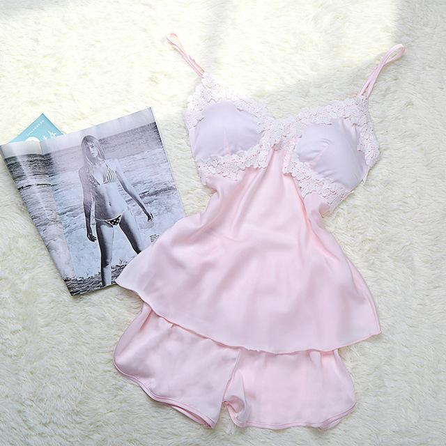 Pink Pajamas Set Envío Libre 2017 Pijamas de las mujeres Nuevo V-cuello Rayón de Seda ropa de Dormir de Las Mujeres Correa de Espagueti Atractiva Caliente Conjunto de pijama