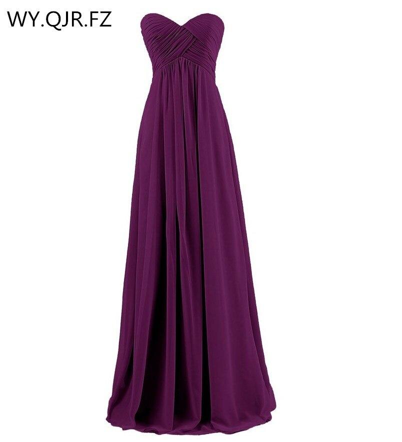 LLY-SZ#New 2019 Winter Ball Gown Dark Violet Bridesmaids Dresses Wrap Chest Bra Bride Wedding Toast Dress Wholesale Custom