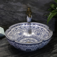 Chinese Blue and white porcelain above counter basin ceramic bathroom sinks flower petal art round wash basin mx01161041
