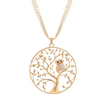 Gold Tree of life Owl Necklace Big Round Pendant Long Chains Sweater Necklace For Women Statement Jewelry Gifts Classic Collier round owl pendant necklace for women tree life crystal necklace gold silver rhionstone jewelry female animal collar 2019 fashion