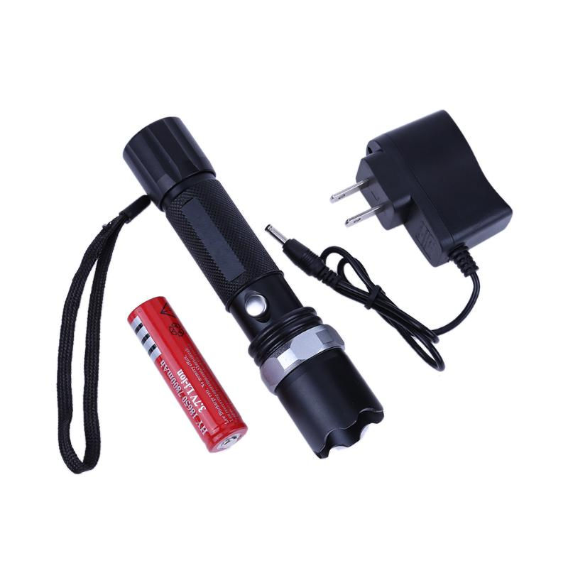 US Plug Rechargeable Mini LED Flashlight Zoomable LED Strong Light Torch AAA batteries or 18650 lithium batteries for Camping