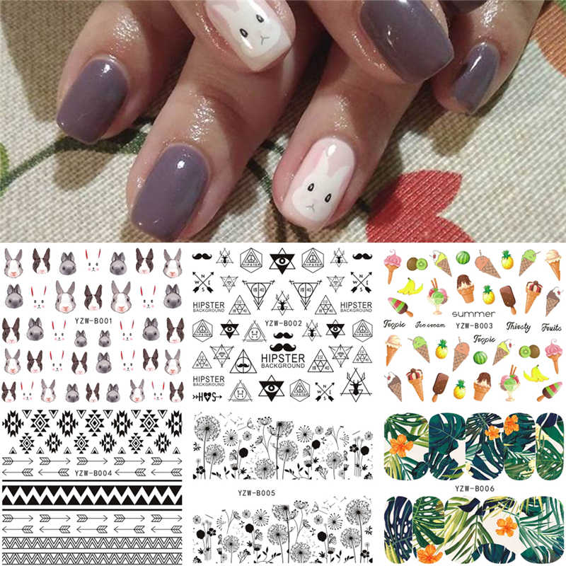 6 Sheets/Lot Mixed Tribal Dandelion Rabbit Ice-cream Pattern Nail Art Water Decals Aztec Nail Transfer Sticker