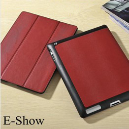 Stand design wake up and sleep model case for ipad 3/2 folding stand cover for ipad3 high quality microfcber inside cover