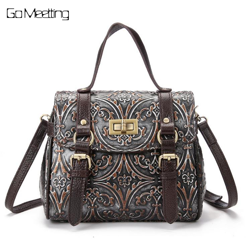 Fashion Women Genuine Embossed Leather Handbag Vintage Trend Casual Female Crossbody Messenger Shoulder Bag Ladies Tote Bags New women genuine leather character embossed day clutches wristlet long wallets chains hand bag female shoulder clutch crossbody bag