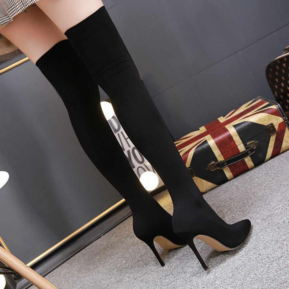 Kış diz çizmeler siyah Over-The-diz kadınlar seksi matkap elastik çizmeler sivri burun yüksek topuklu çorap over-the-diz çizmeler